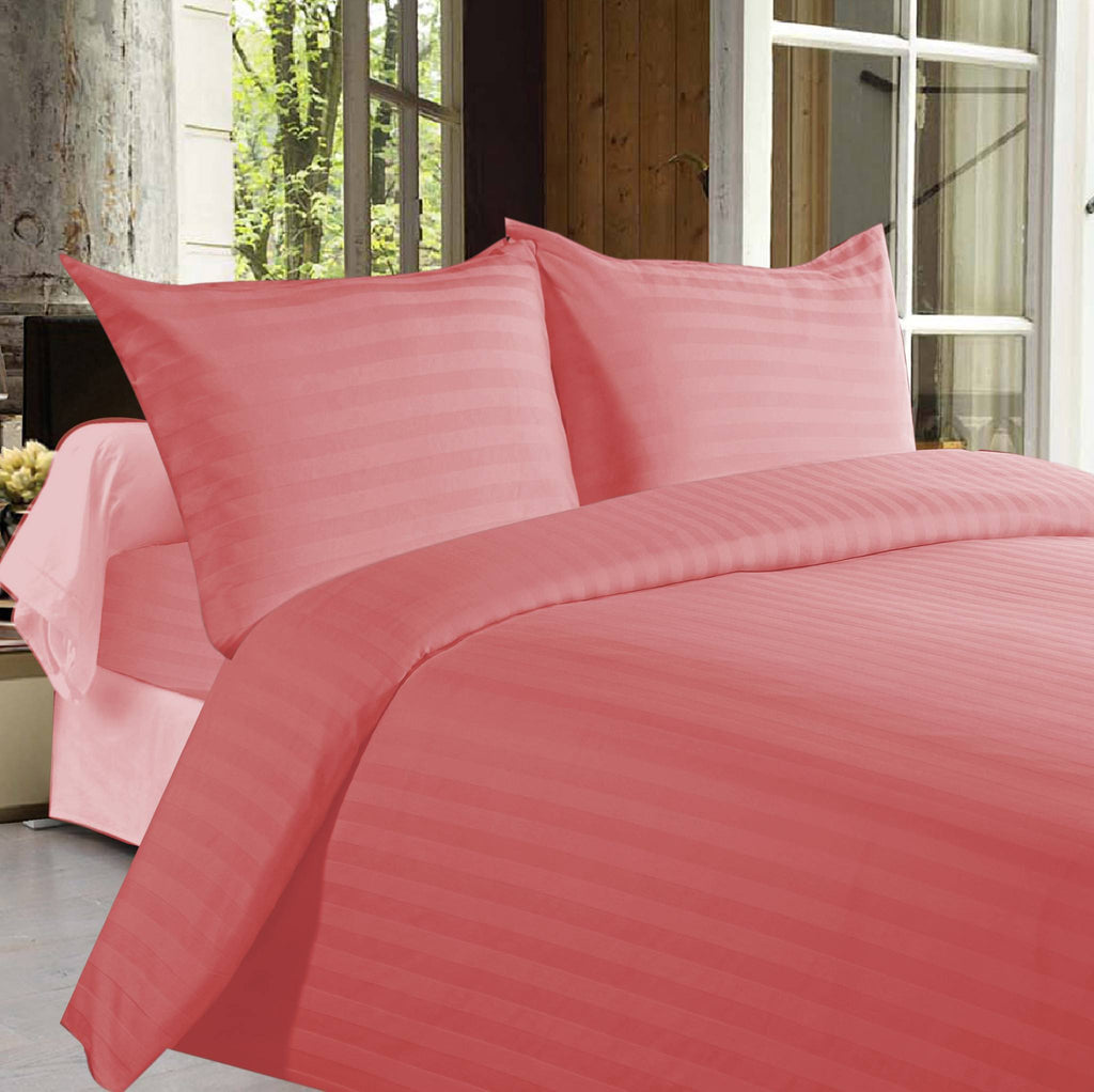 Bed sheets with Stripes 350 Thread count - Peach - large - 1
