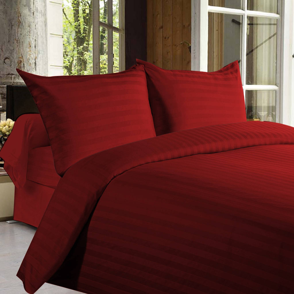 Bed sheets with Stripes 350 Thread count - Red - large - 1