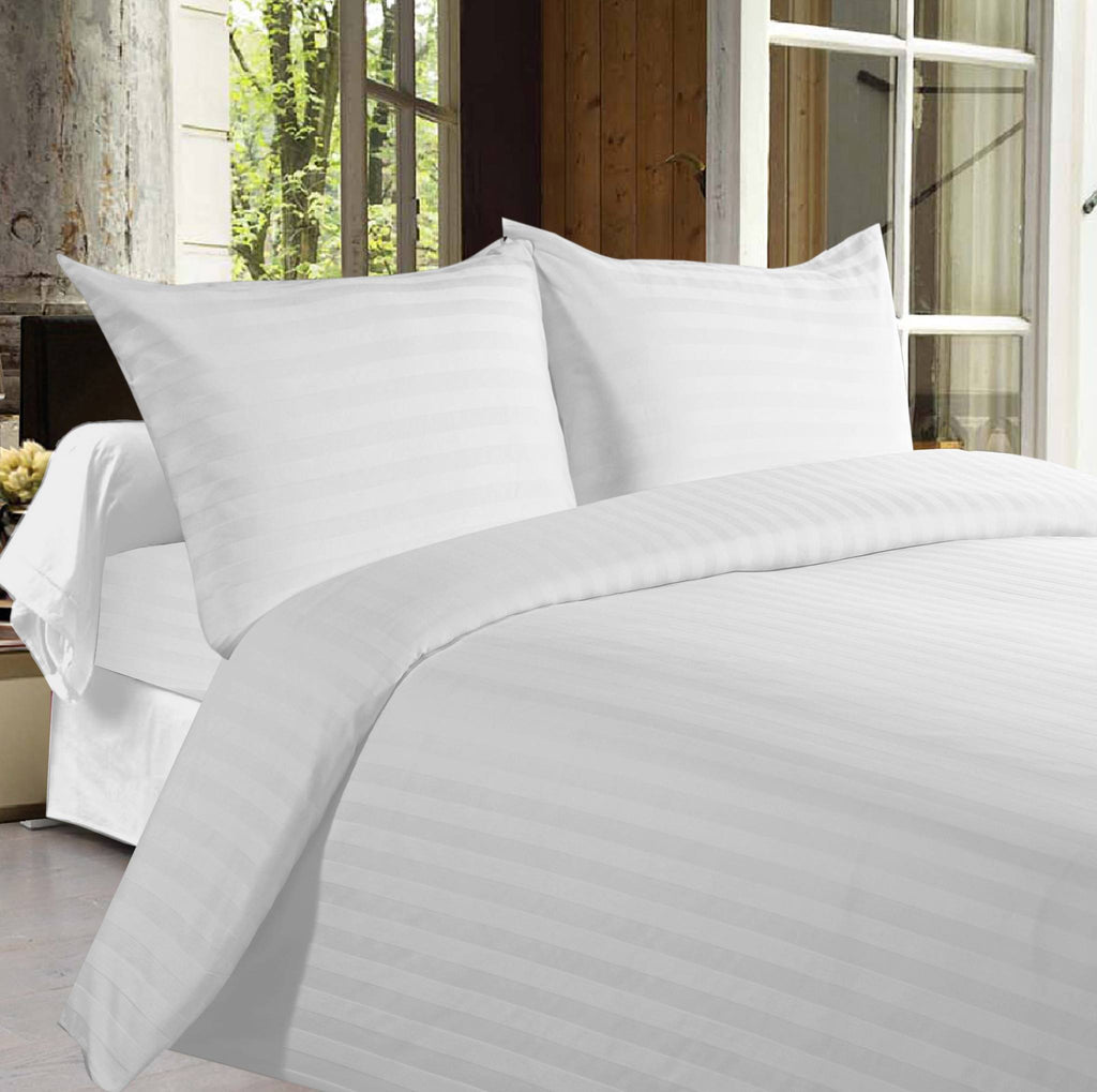 Bed sheets with Stripes 350 Thread count - White - large - 1