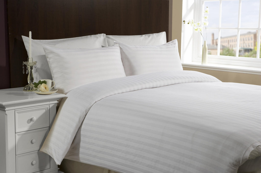 Flat sheets with Satin Stripes - 300 TC White - large - 1