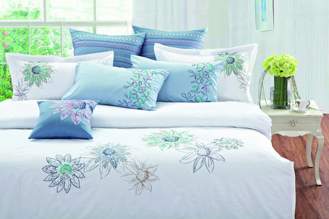 Bed Sheet Set White with Flowers - 1