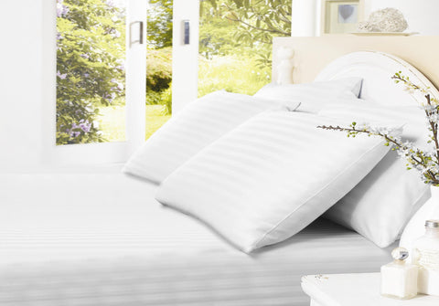 Egyptian Cotton Sheets Fitted White - 1