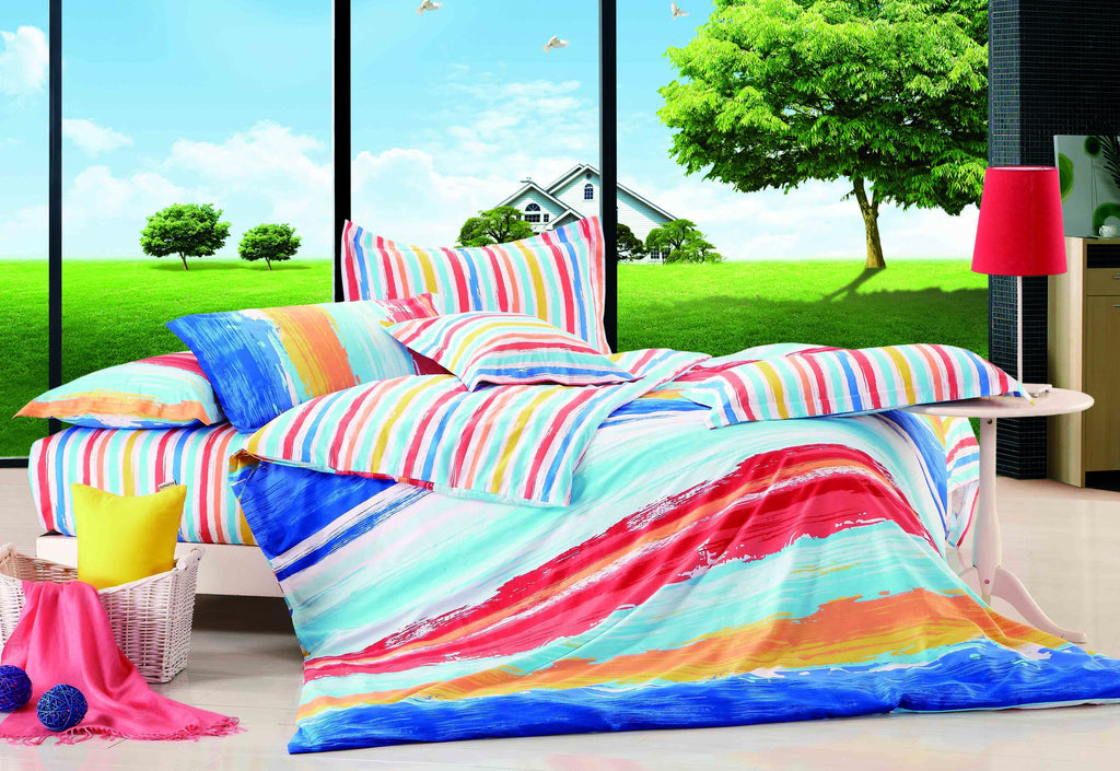 Luxury Bed Sheet Set - Red and Blue - large - 1