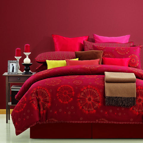 Luxury Bed Sheet Set Red Flowers Nirvana - 1