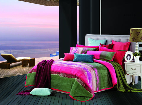 Luxury Bed Sheet Set Red Green Nirvana - 1