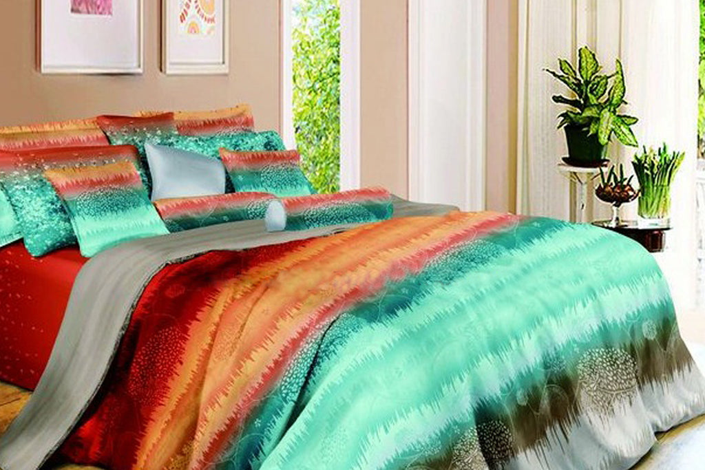 Luxury Bed Sheet Set - Turquoise and Red - large - 1