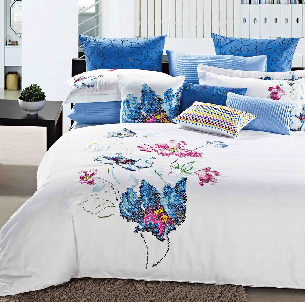 Luxury Bed Sheet Set White Blue Art Collection - large - 1