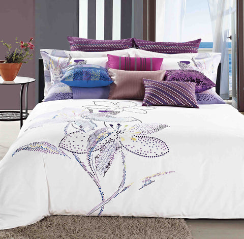 Luxury Bed Sheet Set White Floral Art Collection - 1