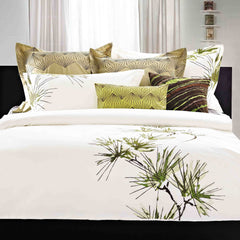 Luxury Bed Sheet Set White Green Art Collection