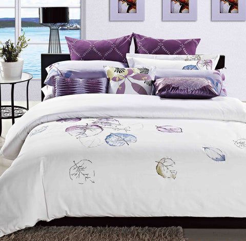 Luxury Bed Sheet Set White Leaf Art Collection - 1