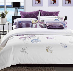 Luxury Bed Sheet Set White Leaf Art Collection