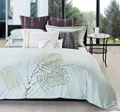 Luxury Bed Sheet Set White Leaf Collection