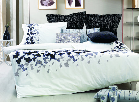 Nirvana Bed Sheet Set White and Black Abstract - 1