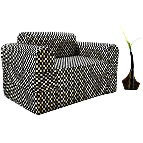 Sofa cum Adjustable Bed Black - Round - 2