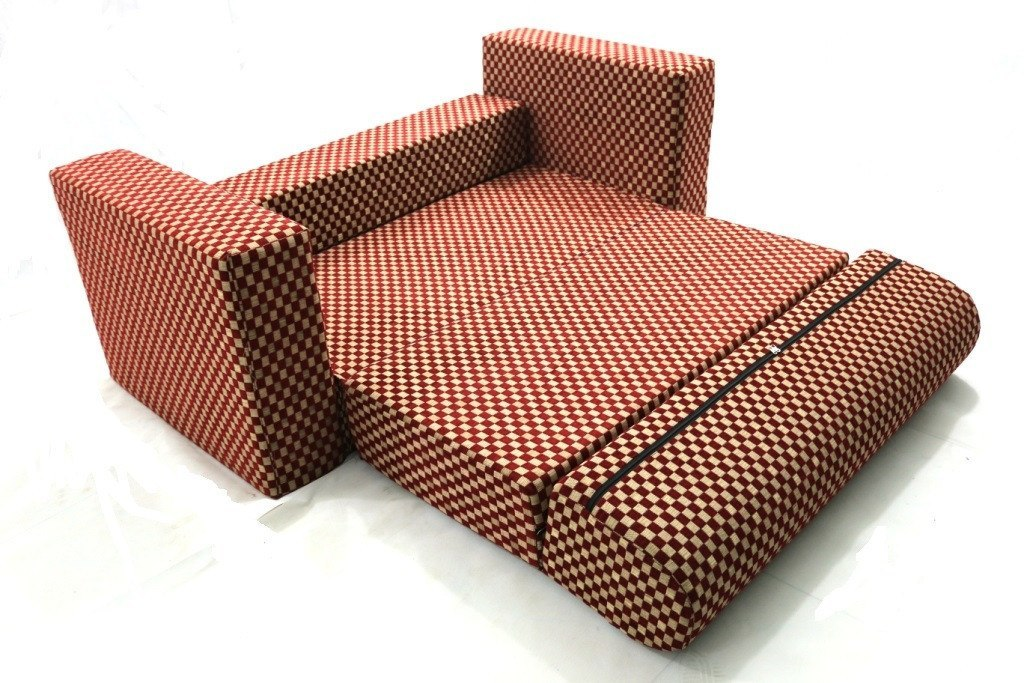 Sofa cum Adjustable Bed Red - Flat - large - 1