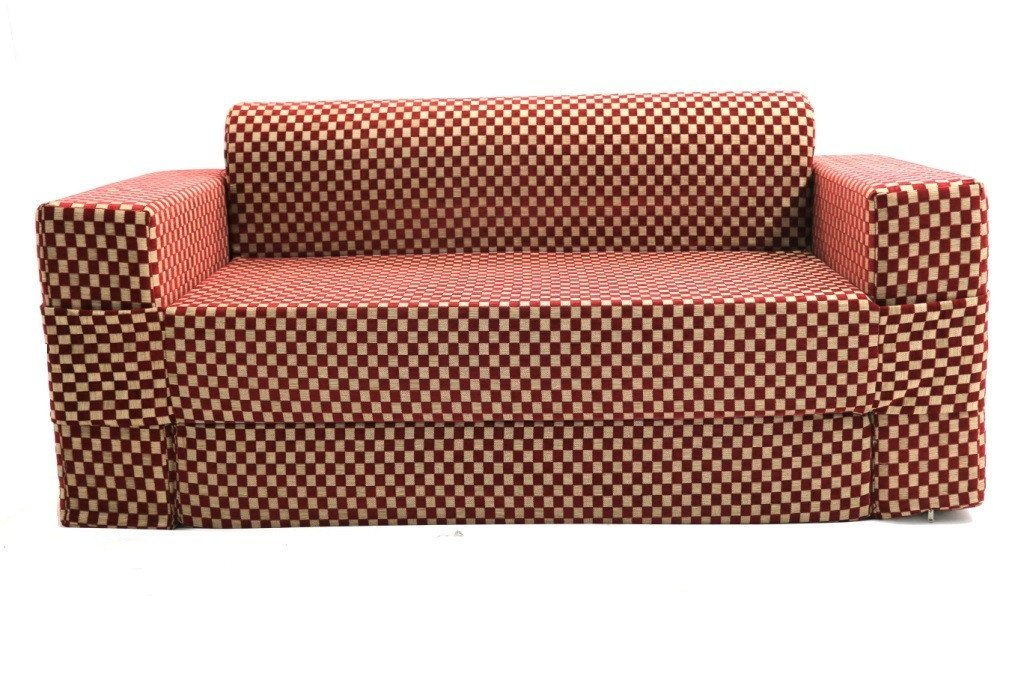 Sofa cum Adjustable Bed Red - Flat - large - 2