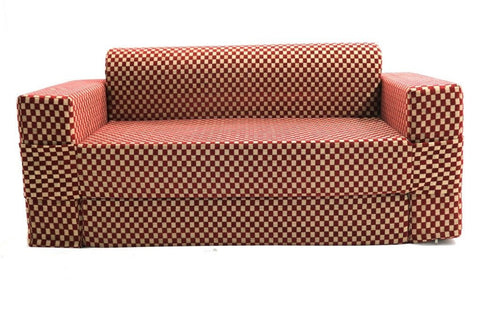 Sofa cum Adjustable Bed Red - Flat - 2