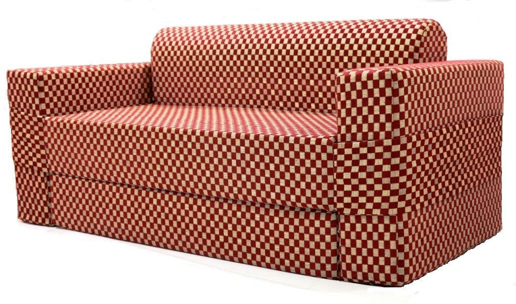 Sofa cum Adjustable Bed Red - Flat - large - 3