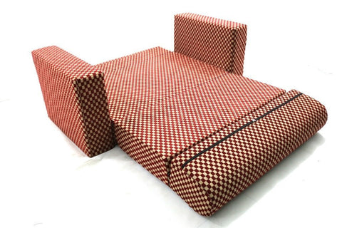 Sofa cum Adjustable Bed Red - Flat - 4