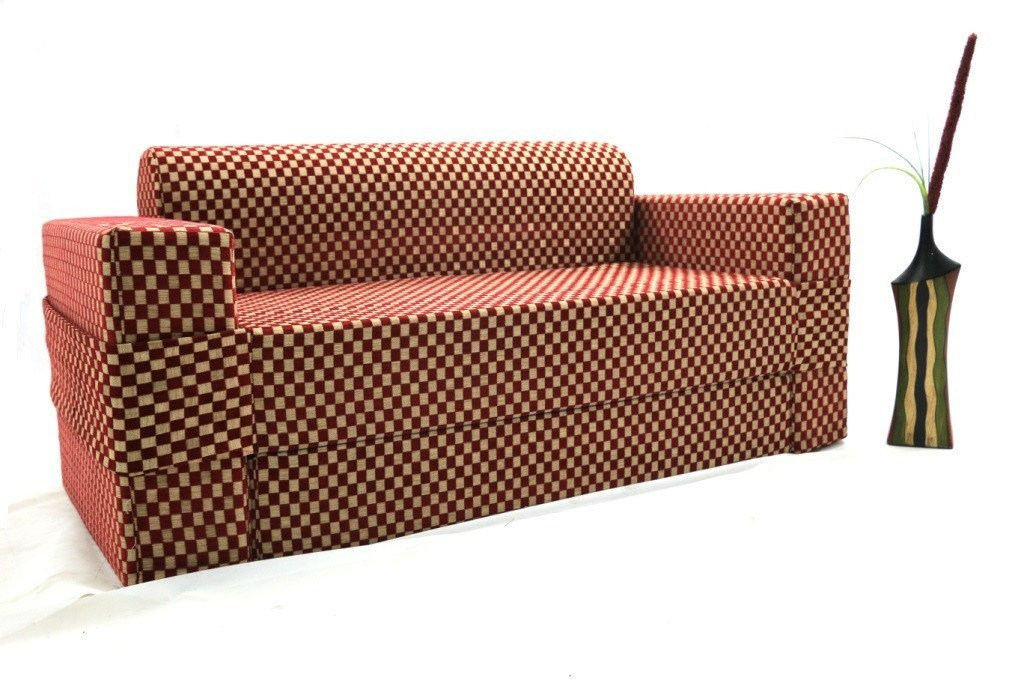 Sofa cum Adjustable Bed Red - Flat - large - 5