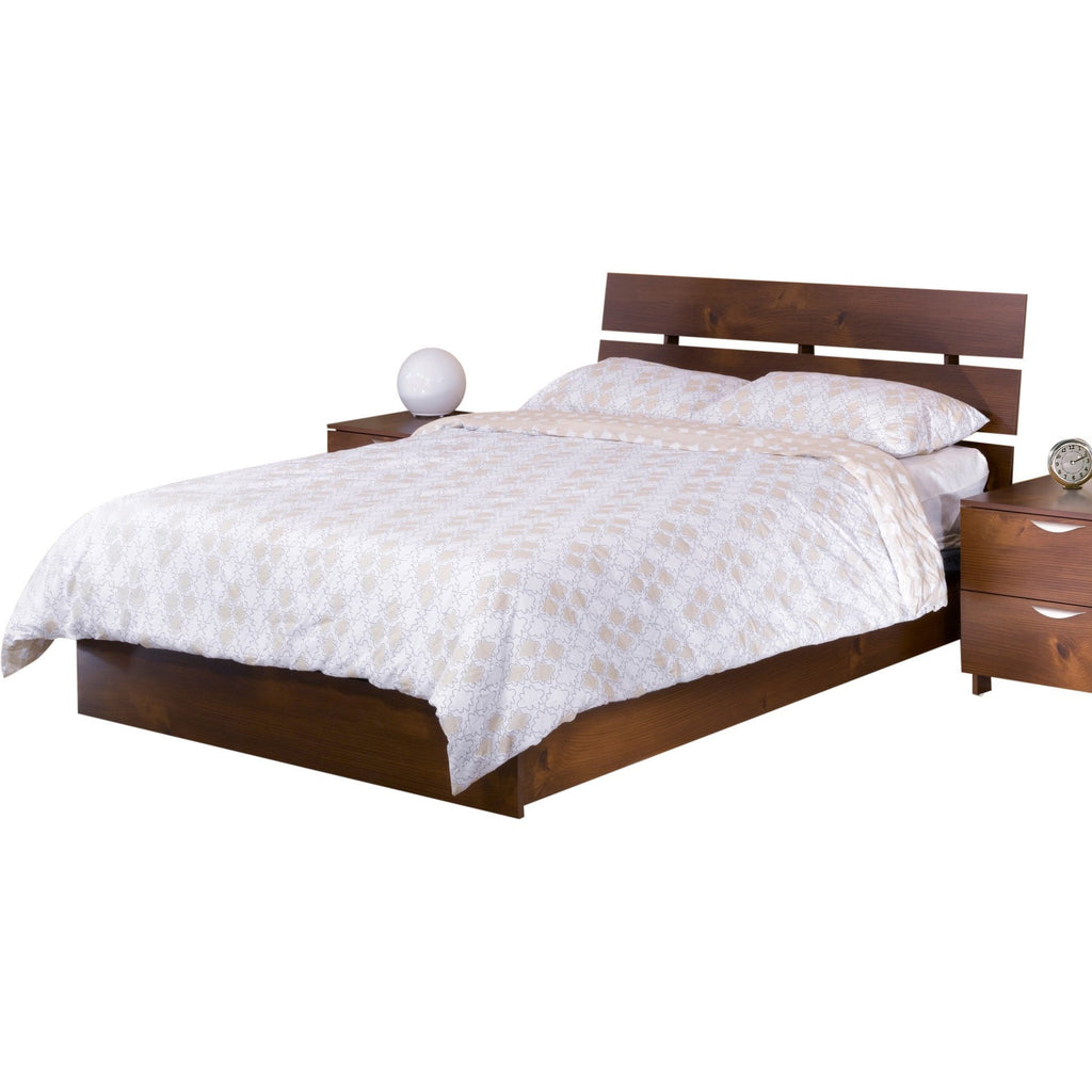 Teak Wood Bed With Slit Headboard - Lomiges - large - 1