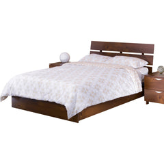 Teak Wood Bed With Slit Headboard - Lomiges