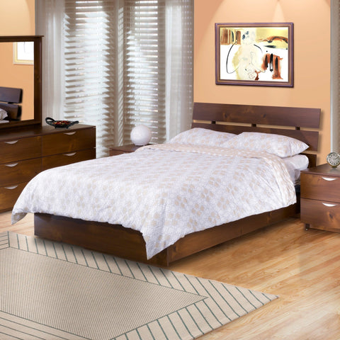 Teak Wood Bed With Slit Headboard - Lomiges - 3