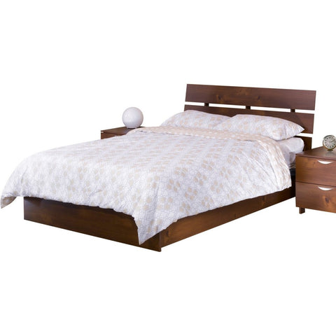 Teak Wood Bed With Slit Headboard - Lomiges - 11