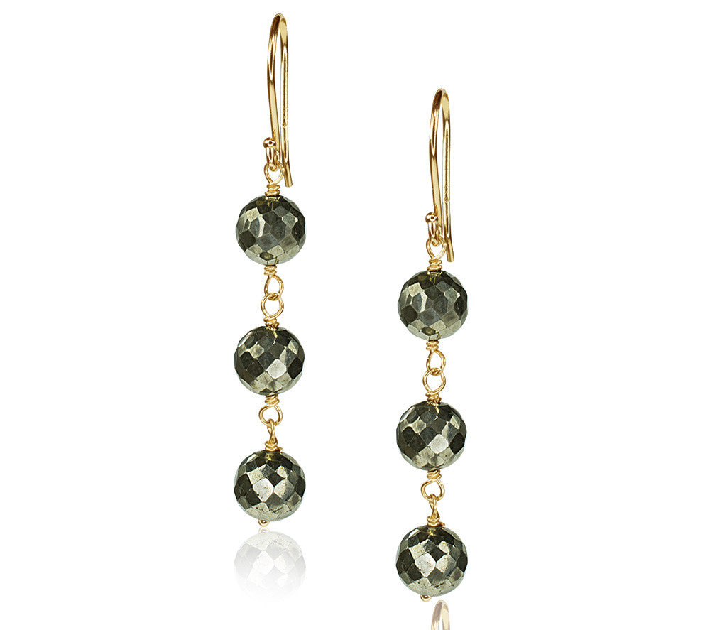 Faceted Pyrite Triple Link Earrings
