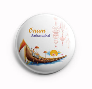 Onaashamsakal Vallamkali White 58mm Fridge Magnet MR8002002