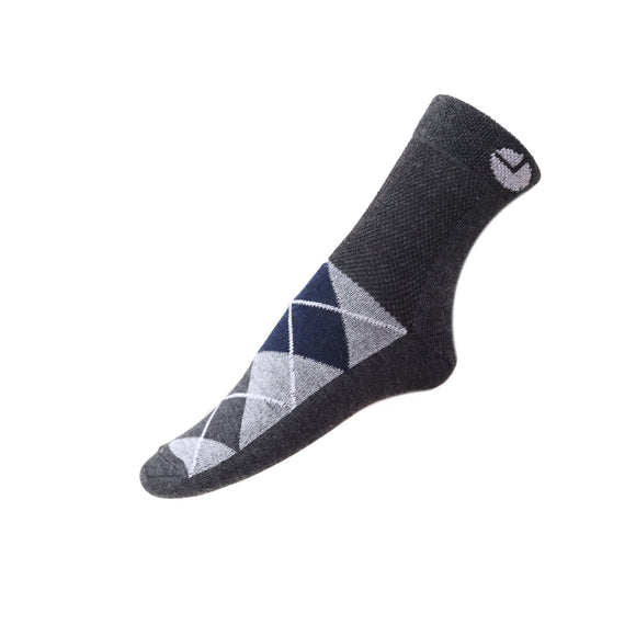 AVI Grey Socks with Grey and white design on top of foot Ankle length cotton Socks R1000015