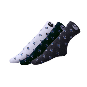 AVI White Blue and Grey socks printed with square and triangles C3R1000017