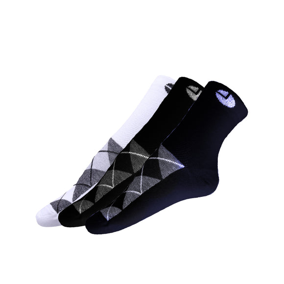 AVI White Black and Blue socks with checks C3R1000030