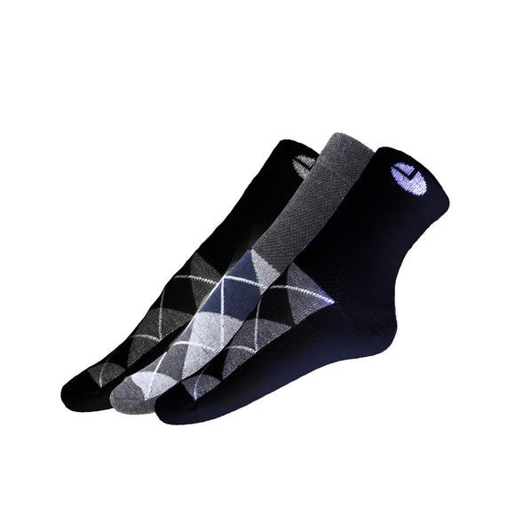 AVI Black Grey and Blue socks with checks with checks C3R1000032