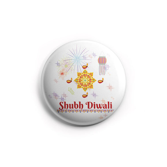 AVI Shubh Diwali White  Regular Size 58mm Badge R8002039