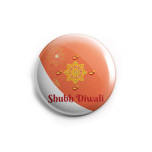 AVI Shubh Diwali Peach & White Regular Size 58mm Badge R8002076