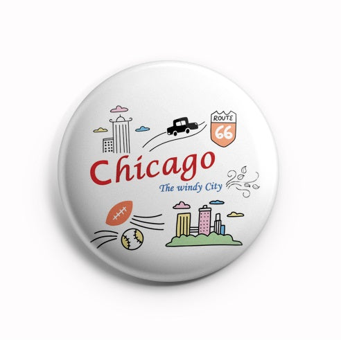 AVI Chicago Souvenir White Fridge Magnet 58mm MR8002077
