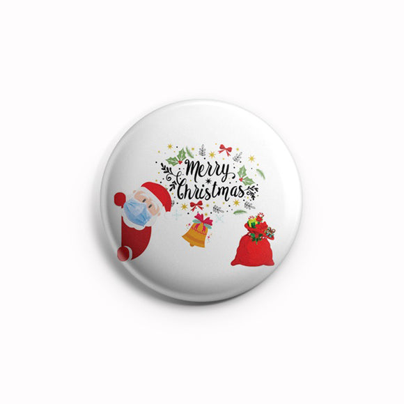 AVI Fridge Magnet Merry Christmas Santa with mask with tree and Gifts Regular Size 58mm MR8002113
