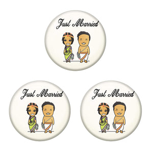 AVI Metal Multi Colour Pin Badges With Just married Brahmin Couple Design  (Pack of 3)