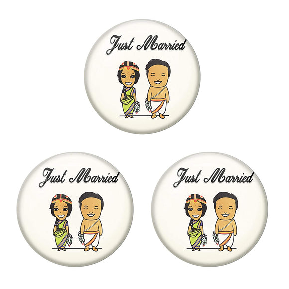 AVI Metal Multi Colour Fridge Magnet With Just married Couple 1 Brahmin Design