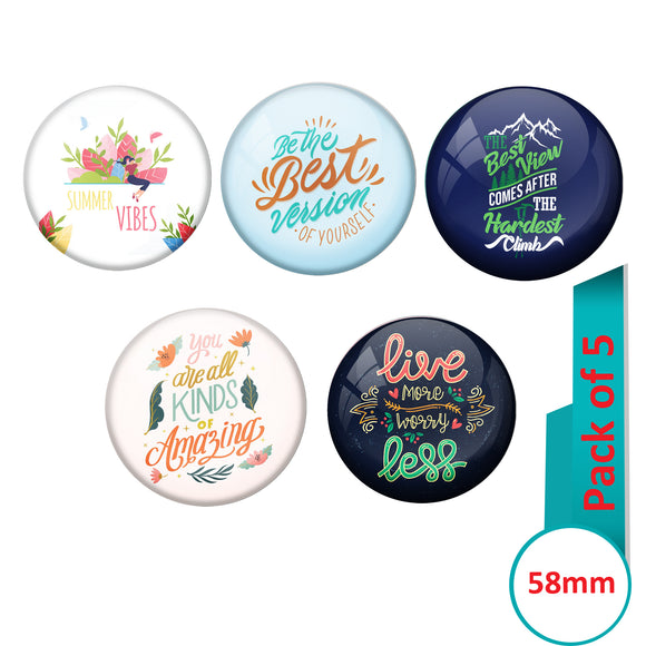 AVI Multi Colour Metal  Pin Badges  with Pack of 5 Happy Positive quotes PQ 6 Design
