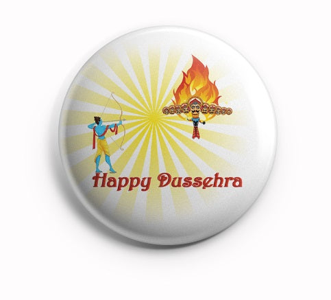 AVI Happy Dussehra Fridge Magnet White with Yellow Regular Size 58mm R8002133