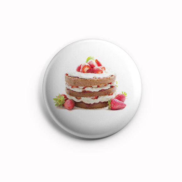 AVI Pin Badges Cake Dessert Food lover White Regular Size 58mm R8002136