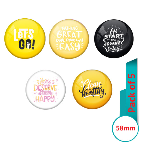 AVI Multi Colour Metal  Pin Badges  with Pack of 5 Happy Positive quotes PQ 9 Design