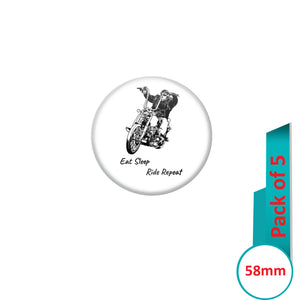 AVI Pin Badges with Multi Eat sleep ride repeat Quote Design Pack of 5