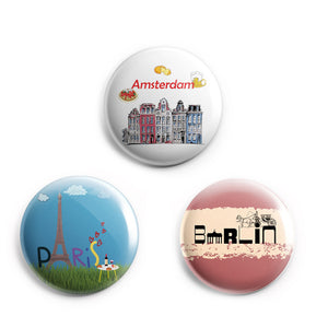 AVI Fridge Magnets Multicolor Europe Travel souvenirs Paris, Amsterdam and Berlin Pack of 3 C3MR8002159