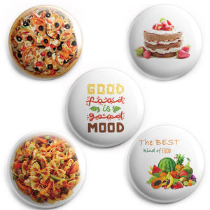 AVI 58mm Fridge Magnets Pack of 5 Good food good mood, pasta, fruits, cake and Pizza Regular Size C5MR8002164