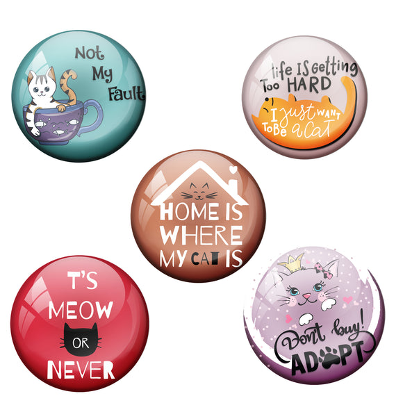 Combo Pack of 5 Cat Badges