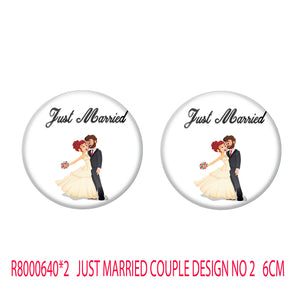 AVI Metal Multi Colour Pin Badges With Just married Western Couple Design  (Pack of 2)
