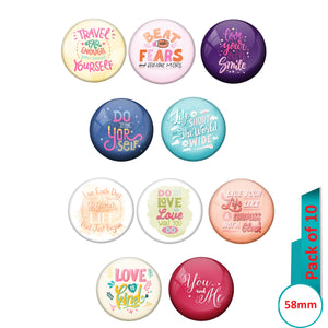 AVI Multi Colour Metal  Pin Badges  with Pack of 10 Happy Positive quotes PQ 50 Design
